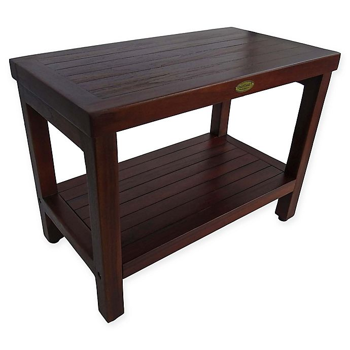 Alternate image 1 for EcoDecors™ Classic 24-Inch Teak Shower Bench with Shelf in Brown