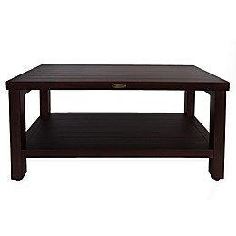 EcoDecors™ Classic 30-Inch Teak Shower Bench with Shelf in Brown