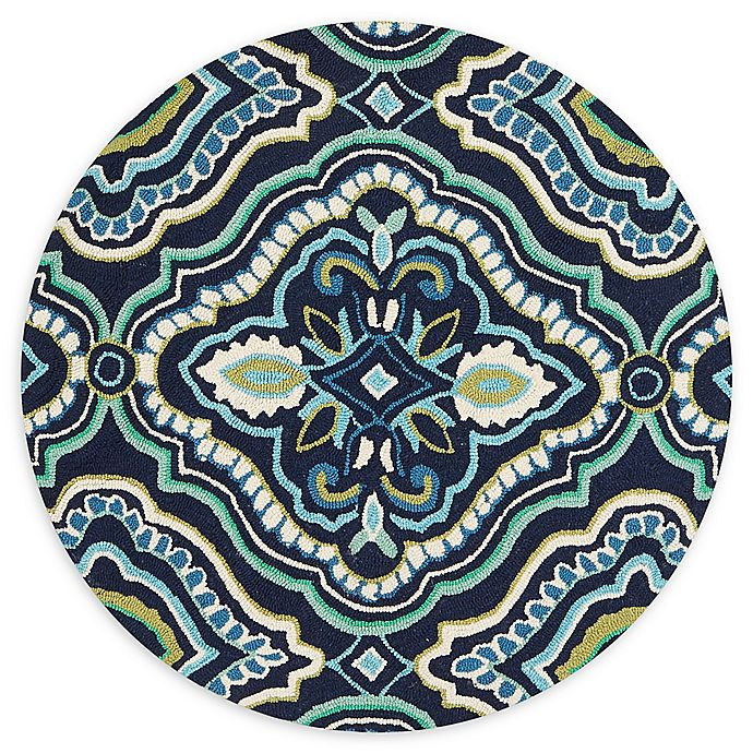 Alternate image 1 for Loloi Rugs Francesca 3' Round Handcrafted Accent Rug ni Navy/Aqua