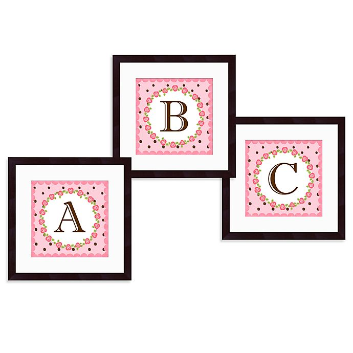 Alternate image 1 for Monogram Rose Initial Wall Art