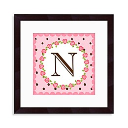 "Monogram Rose Initial ""N"" Wall Art"