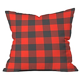 Deny Designs Zoe Wodarz Winter Cabin Plaid 16-Inch Square Throw Pillow in Red