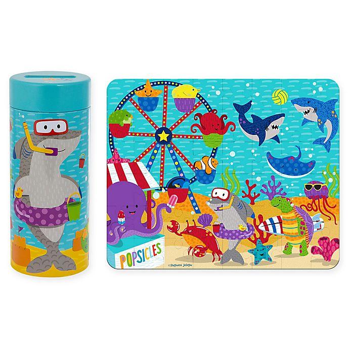 Alternate image 1 for Stephen Joseph Sea Carnival Tin Bank with Puzzle in Aqua