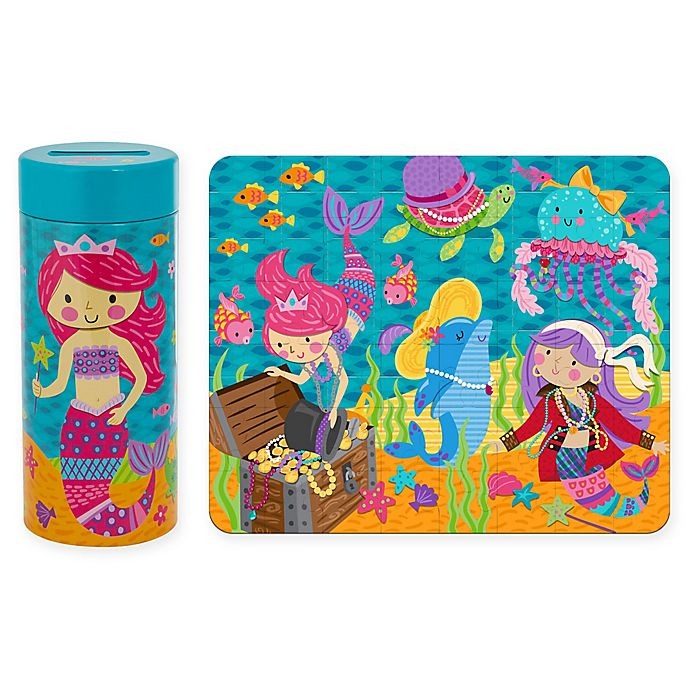 Alternate image 1 for Stephen Joseph Mermaid Tin Bank with Puzzle in Blue