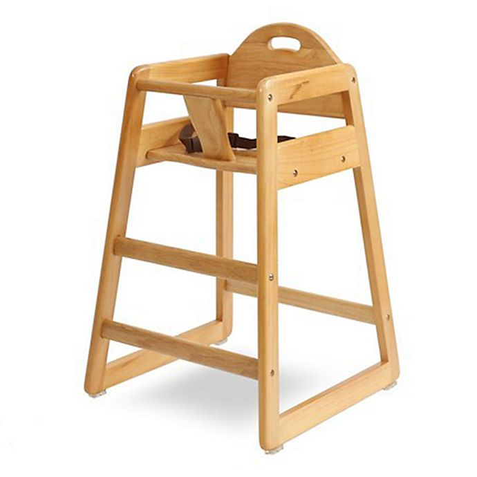 Alternate image 1 for LA Baby® Solid Wood High Chair in Natural