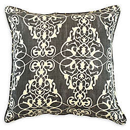 American Colors Ashley Damask  Square Throw Pillow in Grey