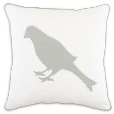 American Colors Bird 20-Inch Square Throw Pillow in White/Mist