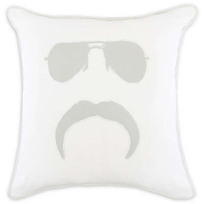 American Colors  Mr. Mustache 20-Inch Square Throw Pillow in White