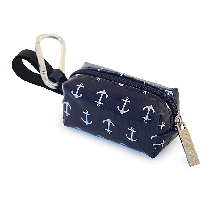 Alternate image 1 for Oh Baby Bags Clip-On Anchor Wet Bag Dispenser in Navy/White
