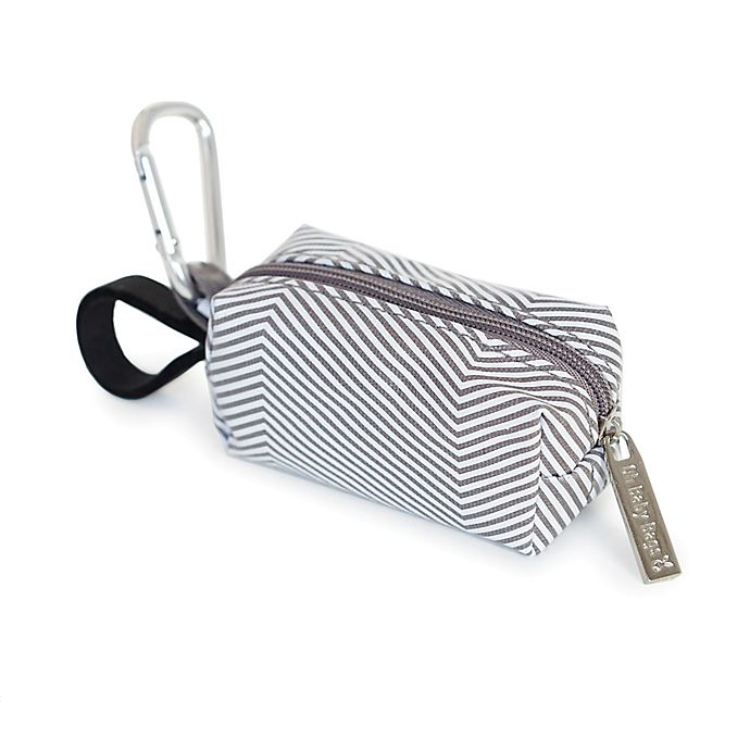 Alternate image 1 for Oh Baby Bags Clip-On Mini Stripes Wet Bag Dispenser in Grey/White