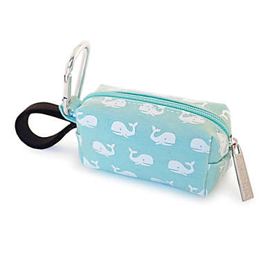 Oh Baby Bags Clip-On Whale Wet Bag Dispenser in Sea Foam/White