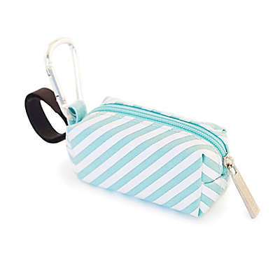 Oh Baby Bags Clip-On Stripes Wet Bag Dispenser in Seafoam/White