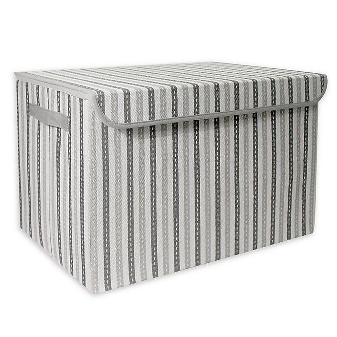 Alternate image 1 for Taylor Madison Designs® Mid Stripe Stitch Medium Toy Chest in White/Grey