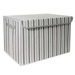 Taylor Madison Designs® Mid Stripe Stitch Medium Toy Chest in White/Grey
