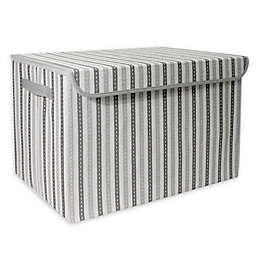 Taylor Madison Designs® Mid Stripe Stitch Medium Toy Chest in White/Grey