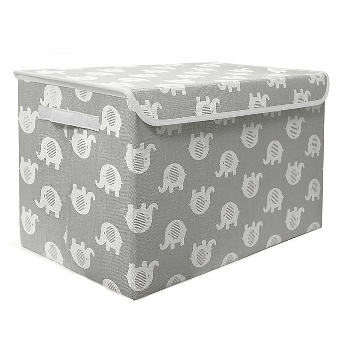 Alternate image 1 for Taylor Madison Designs® Elephant Medium Toy Chest in Grey/White