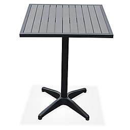 Metro Steel Outdoor Slat-Top 27-Inch Square Bar Height Table in Black