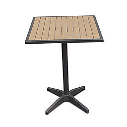 Steel Outdoor Slat-Top 27-Inch Square Bar Height Table