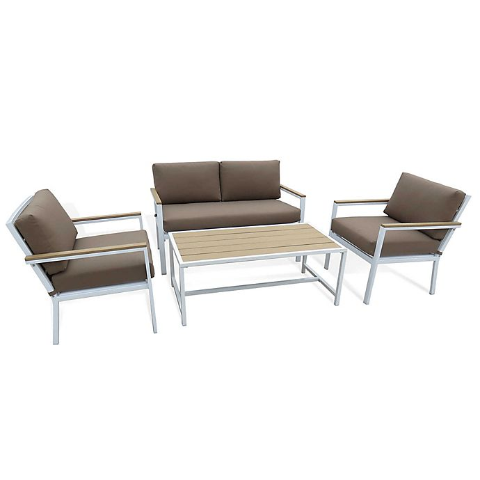 Alternate image 1 for Metro 4-Piece Outdoor Conversation Set in Pearl White/Brown