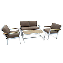 Metro 4-Piece Steel and Resin Outdoor Conversation Set