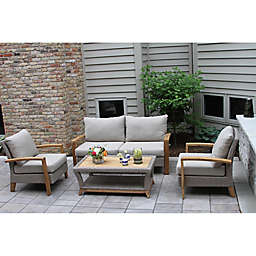 Outdoor Interiors® 4-Piece Teak & Wicker Patio Set in Grey/Teak