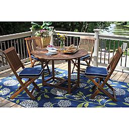 Outdoor Interiors Eucalyptus 5-Piece Round Folding Dining Set in Brown/Navy