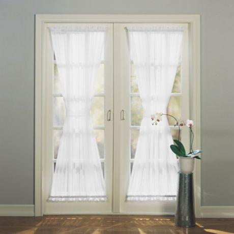buy emily 72 inch rod pocket sheer door panel in white from bed bath beyond. Black Bedroom Furniture Sets. Home Design Ideas