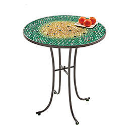 Ombre Mosaic All Weather Side Table in Green
