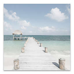 Artissimo Designs™ Wooden Pier 35-Inch Square Printed Canvas Wall Art