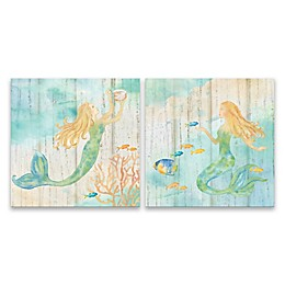 Artissimo Designs™ Sea Splash Mermaid 14-Inch Square Printed Canvas Wall Art (Set of 2)
