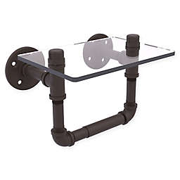 Allied Brass Pipeline Collection Toilet Paper Holder with Glass Shelf