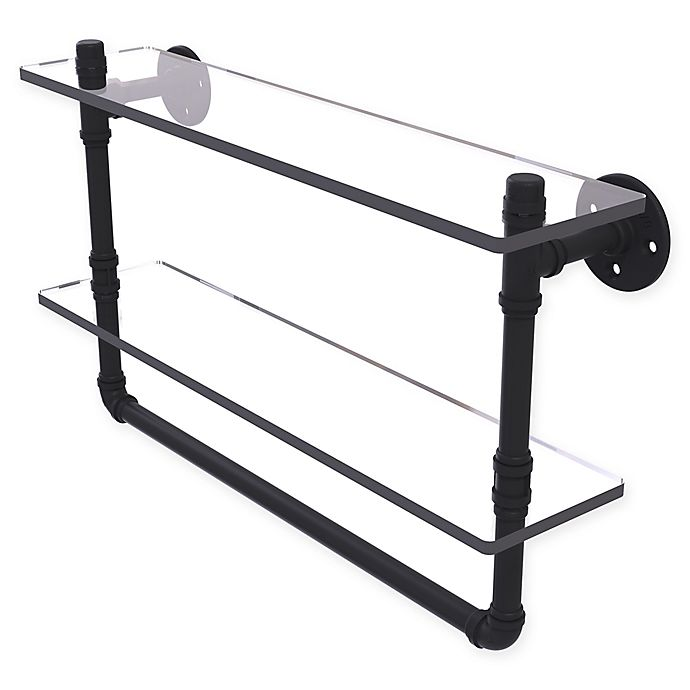 Alternate image 1 for Allied Brass Pipeline Collection Double Glass Shelf with Towel Bar