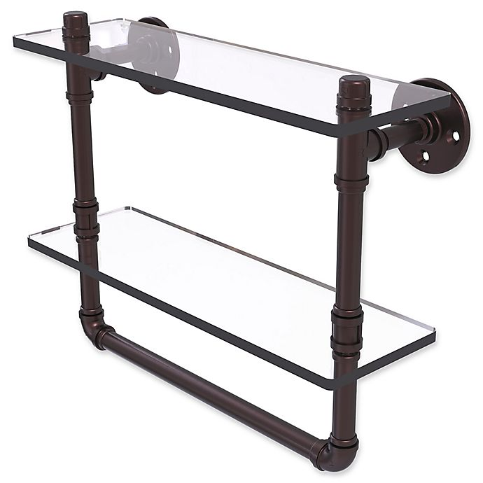 Alternate image 1 for Allied Brass Pipeline Collection 16-Inch Double Glass Shelf with Towel Bar in Antique Bronze