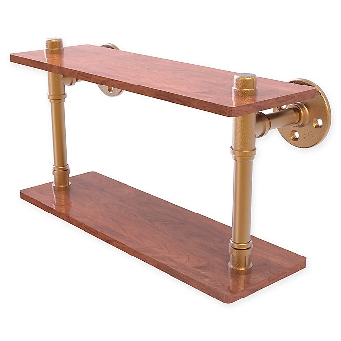 Alternate image 1 for Allied Brass Pipeline Collection 16-Inch Ironwood Double Shelf in Brushed Bronze