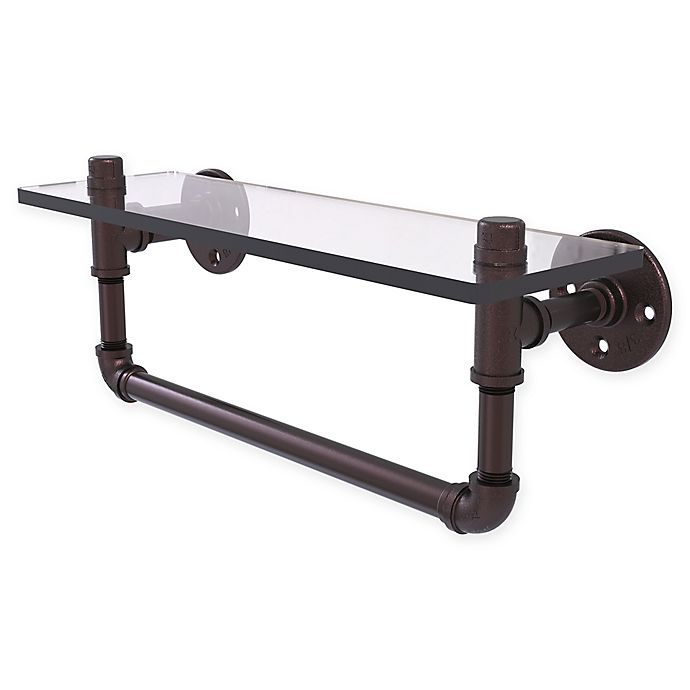 Alternate image 1 for Allied Brass Pipeline Collection Glass Shelf with Towel Bar