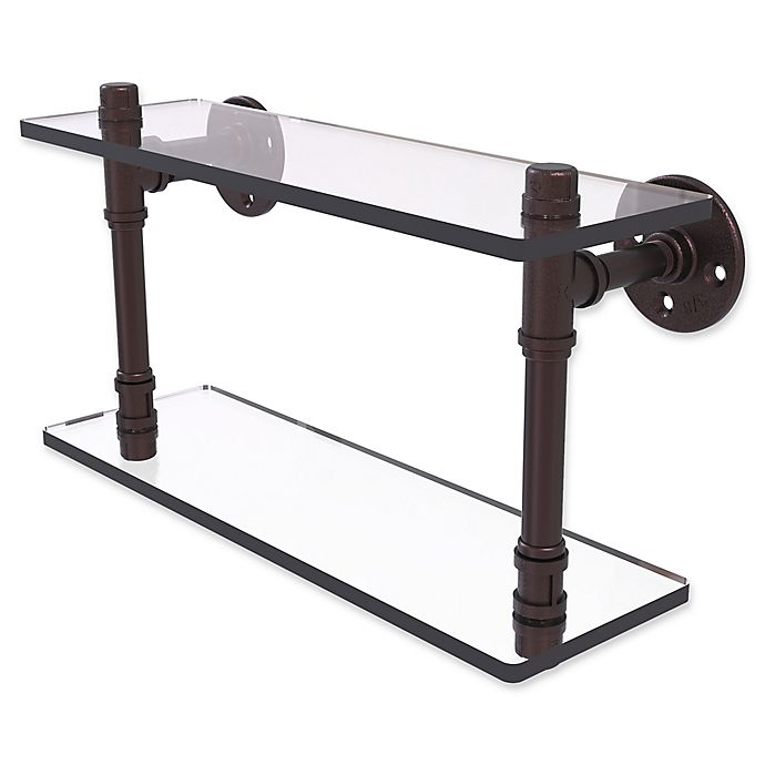 Alternate image 1 for Allied Brass Pipeline Collection 16-Inch Double Glass Shelf in Antique Bronze
