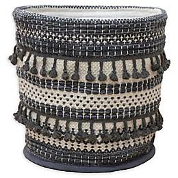 Hand Woven Round Basket in Grey
