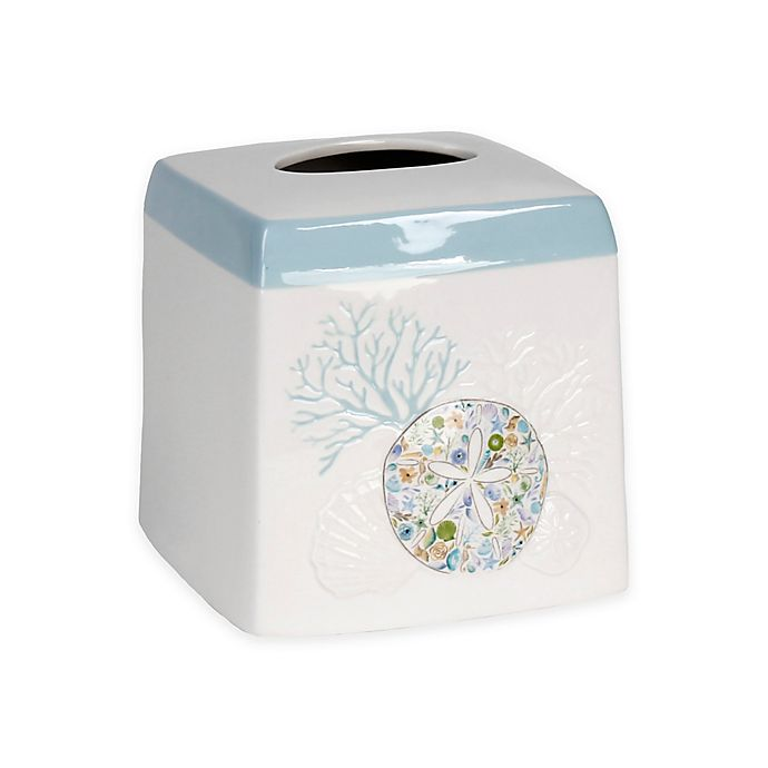 Alternate image 1 for Saturday Knight Seaside Blossoms Boutique Tissue Holder in White