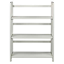 3-Shelf Folding Stackable 27.5-Inch Wide Bookcase in White