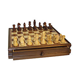WorldWise Imports 15-Inch Walnut and Maple Drawer Chest Chess Set