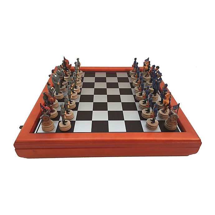 Alternate image 1 for WorldWise Imports Civil War Generals Painted Resin Chess Set with Cherry Stained Board