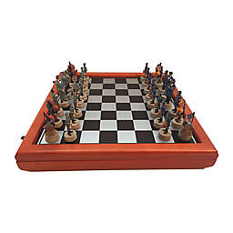 WorldWise Imports Civil War Generals Painted Resin Chess Set with Cherry Stained Board