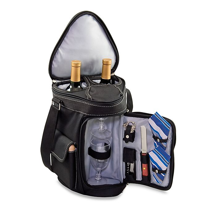 Picnic Time® Meritage Deluxe Insulated Wine and Cheese Tote in Black    Silver a8aff1f0e5