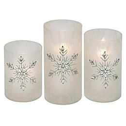 Iced Glass Jeweled Snowflake 3-Piece LED Pillar Candle Set