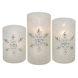 Iced Glass Jeweled Snowflake 3-Piece LED Pillar Candle Set