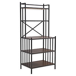 Southern Enterprises Pemberton Bakers Rack in Gray with Pine