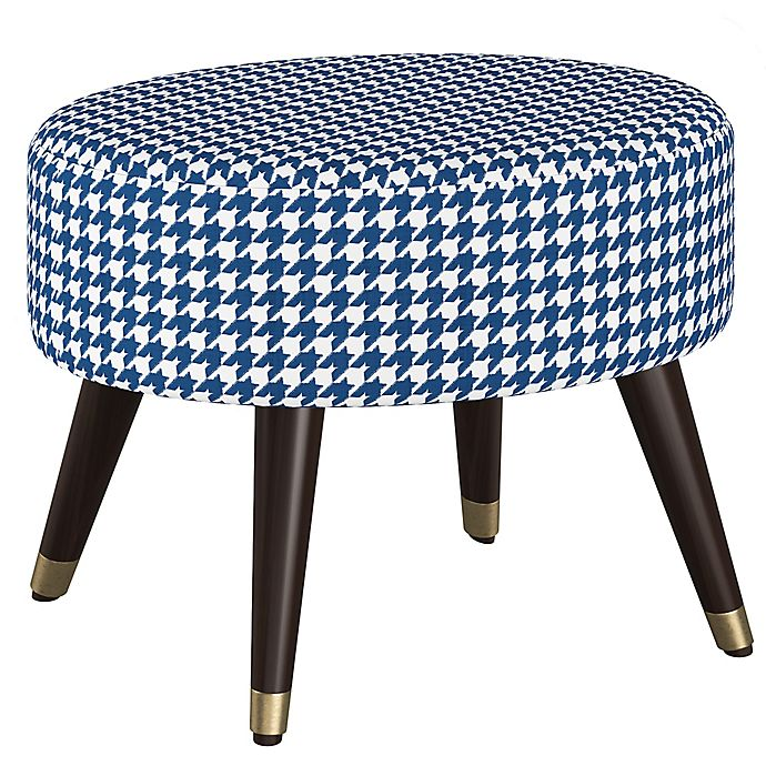 Prime Skyline Furniture Houndstooth Linen Upholstered Ottoman In Beatyapartments Chair Design Images Beatyapartmentscom