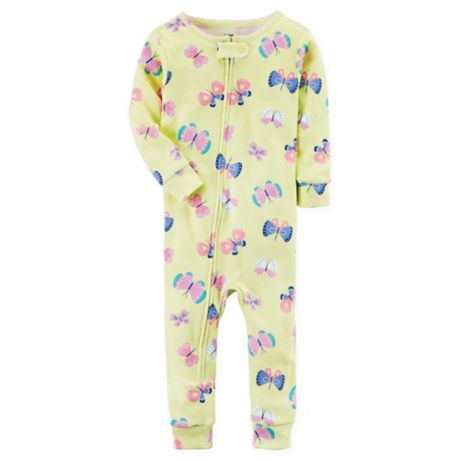 44b00fa48869 carter s® Snug Fit Butterfly Print Footless Pajamas in Yellow ...