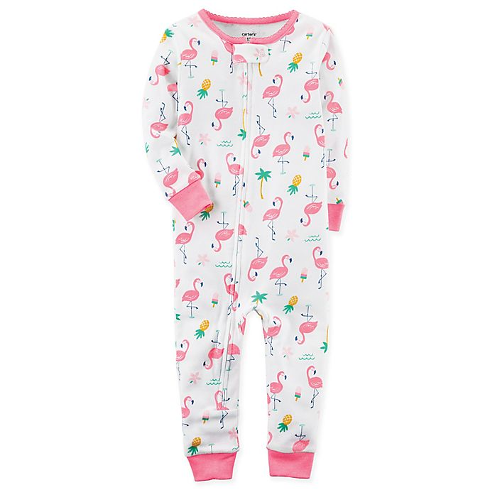 Alternate image 1 for carter's® Flamingo Print Footless Pajama in White
