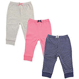 Luvable Friends® 3-Pack Tapered Ankle Pants in Navy/Pink